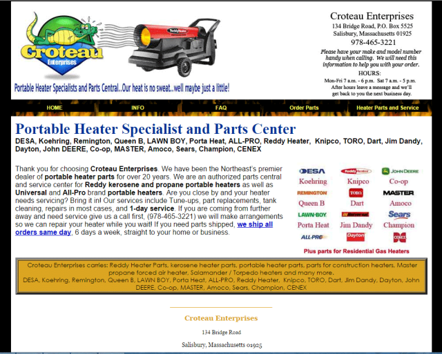 Space Heater Parts and Service